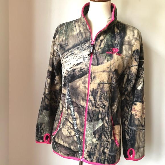 5f1aad02778 Mossy Oak Women s Fleece Camo Jacket w pink trim. M 5bdf3e42de6f621f189ccfa9